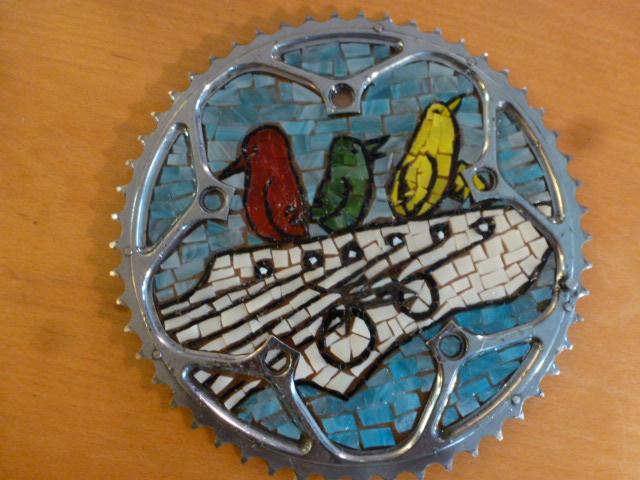 Mosaic Chainring with Bob Marley's Three Little Birds