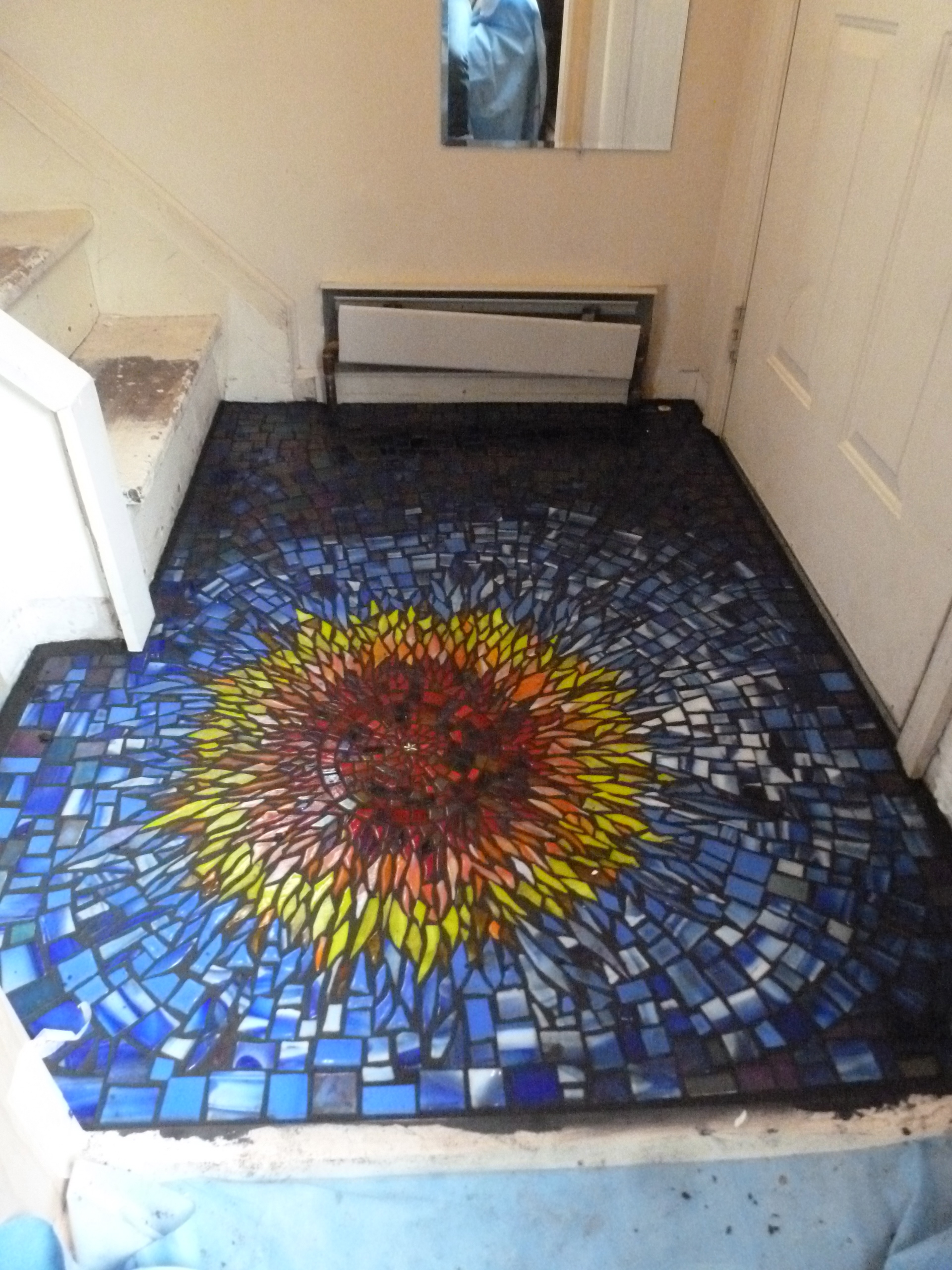 Fused Glass Sunburst Mosaic Floor
