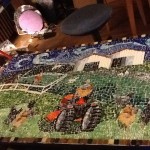 Mosaic table of farm