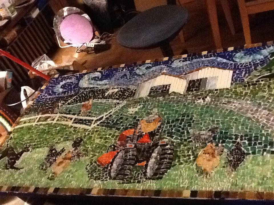 Mosaic table of farm