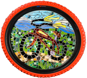 mosaic tile art of bicycle framed in bicycle tire